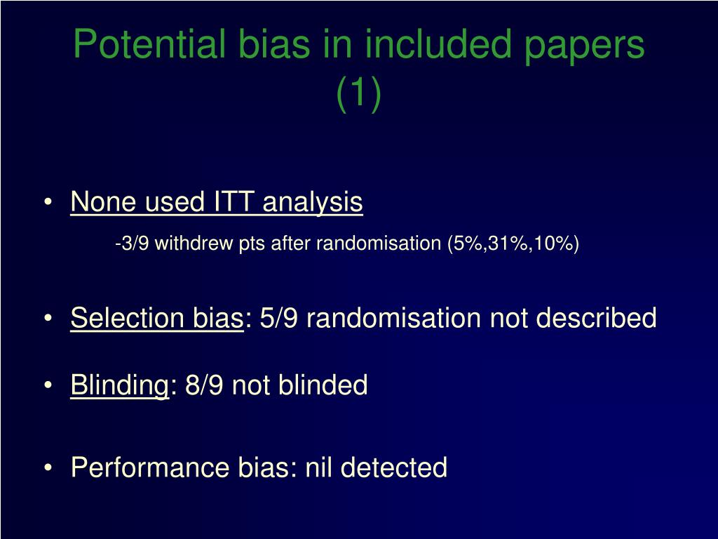 Potential bias in included papers (1)