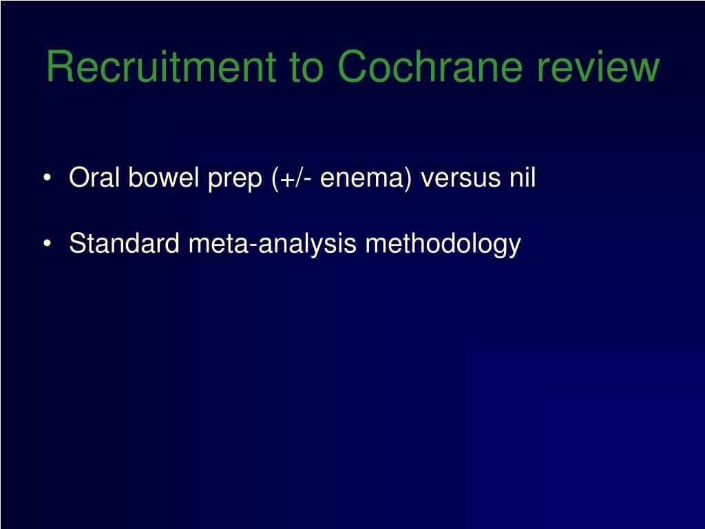 Recruitment to Cochrane review