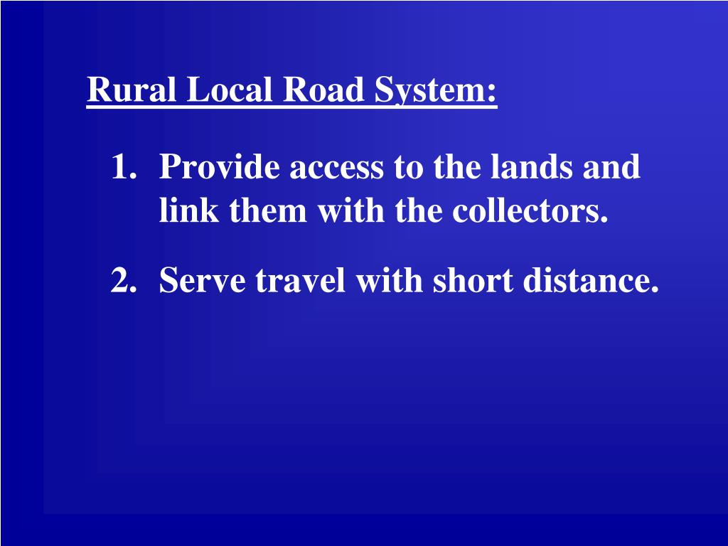 Rural Local Road System: