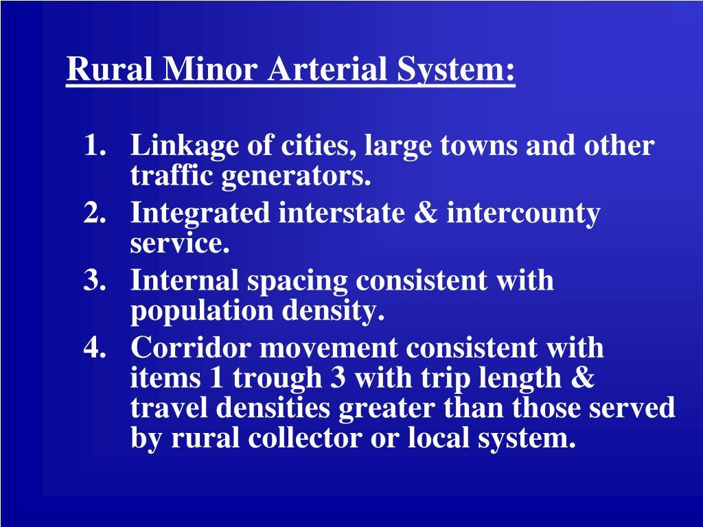 Rural Minor Arterial System: