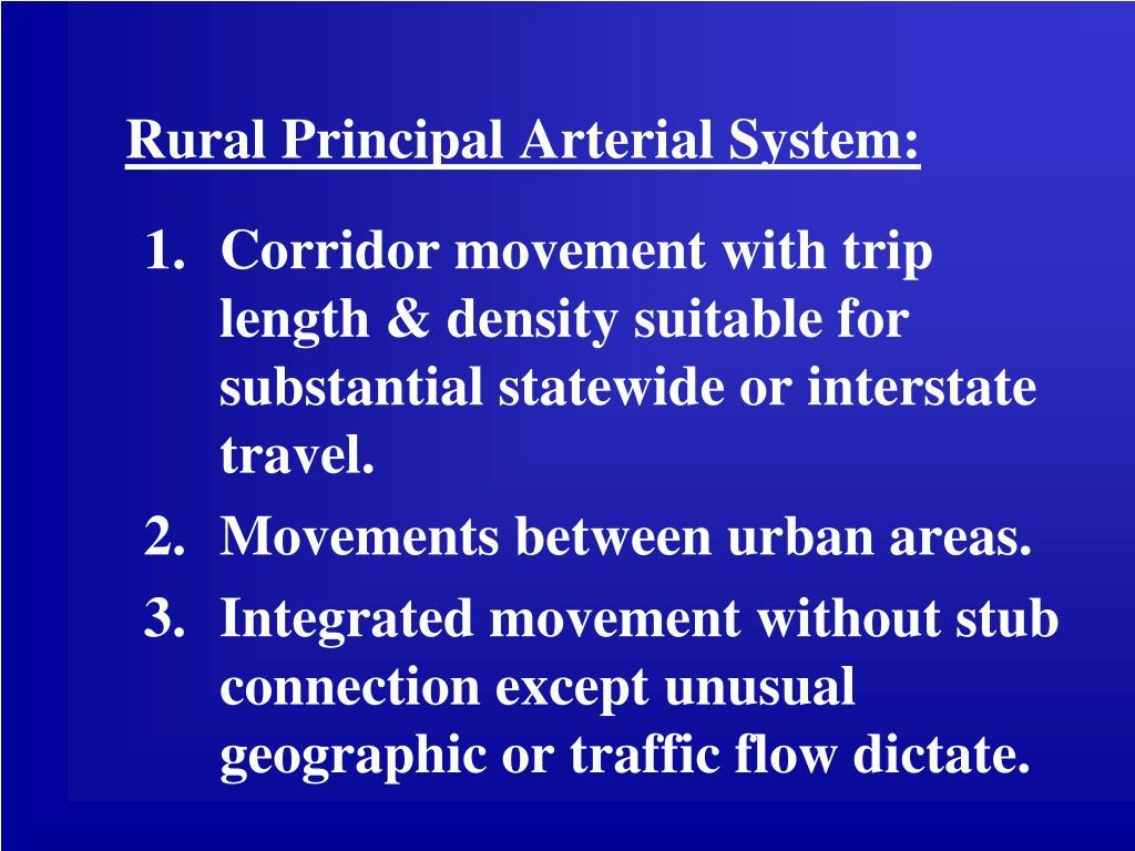 Rural Principal Arterial System: