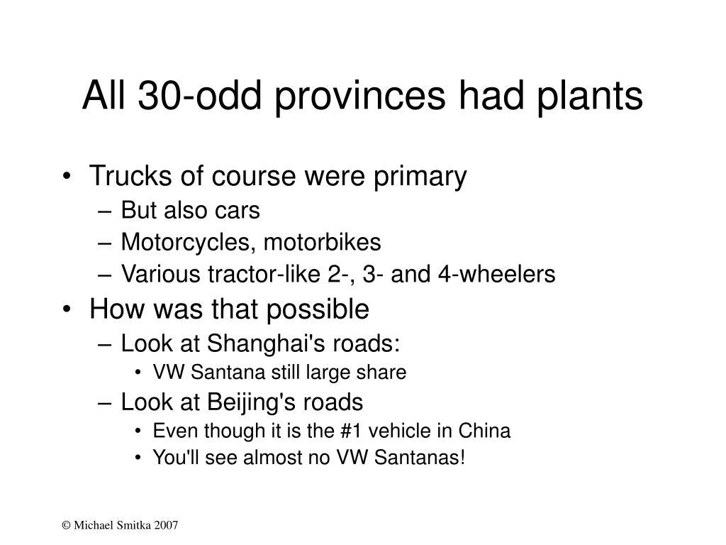 All 30-odd provinces had plants