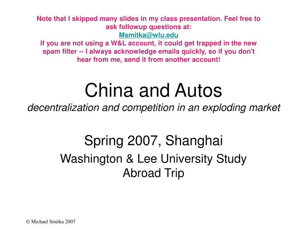Note that I skipped many slides in my class presentation. Feel free to ask followup questions at: