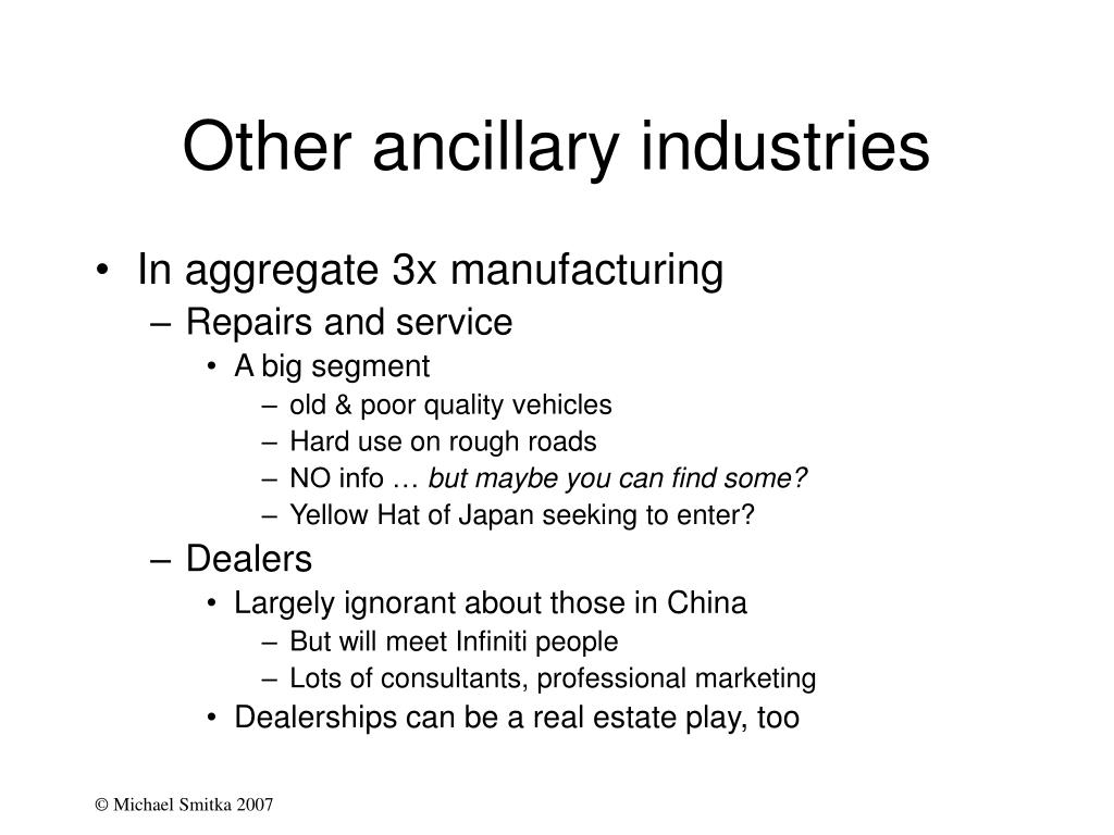 Other ancillary industries