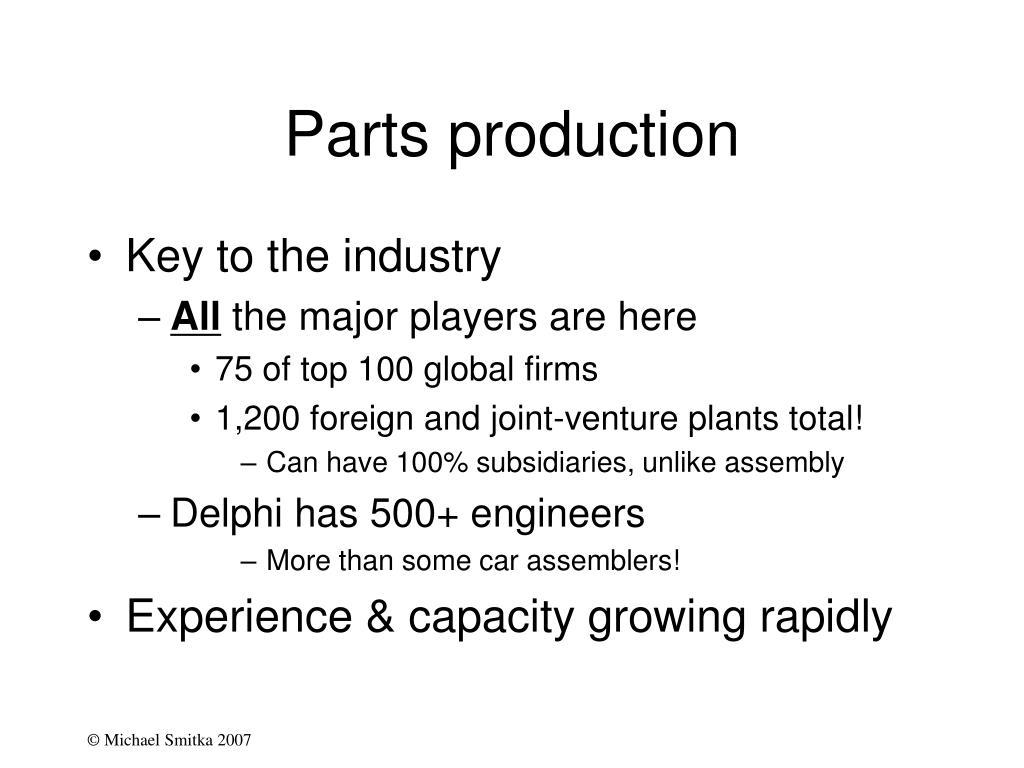 Parts production