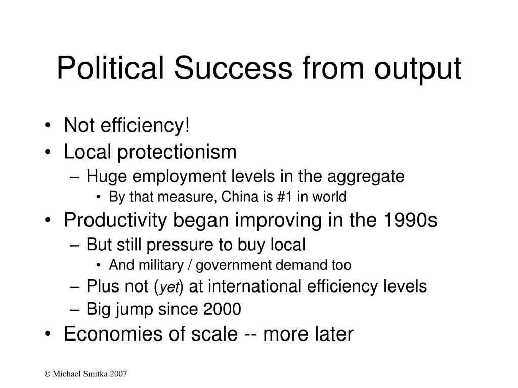 Political Success from output