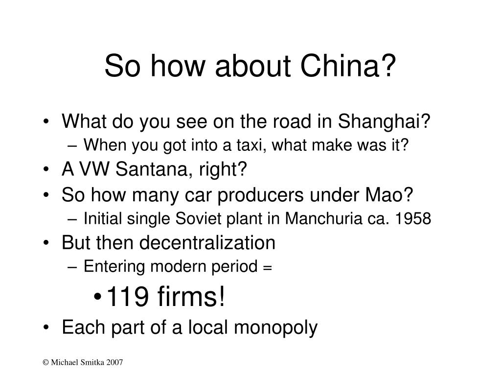 So how about China?