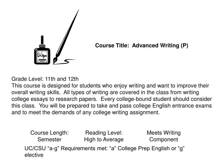 Course Title:  Advanced Writing (P)