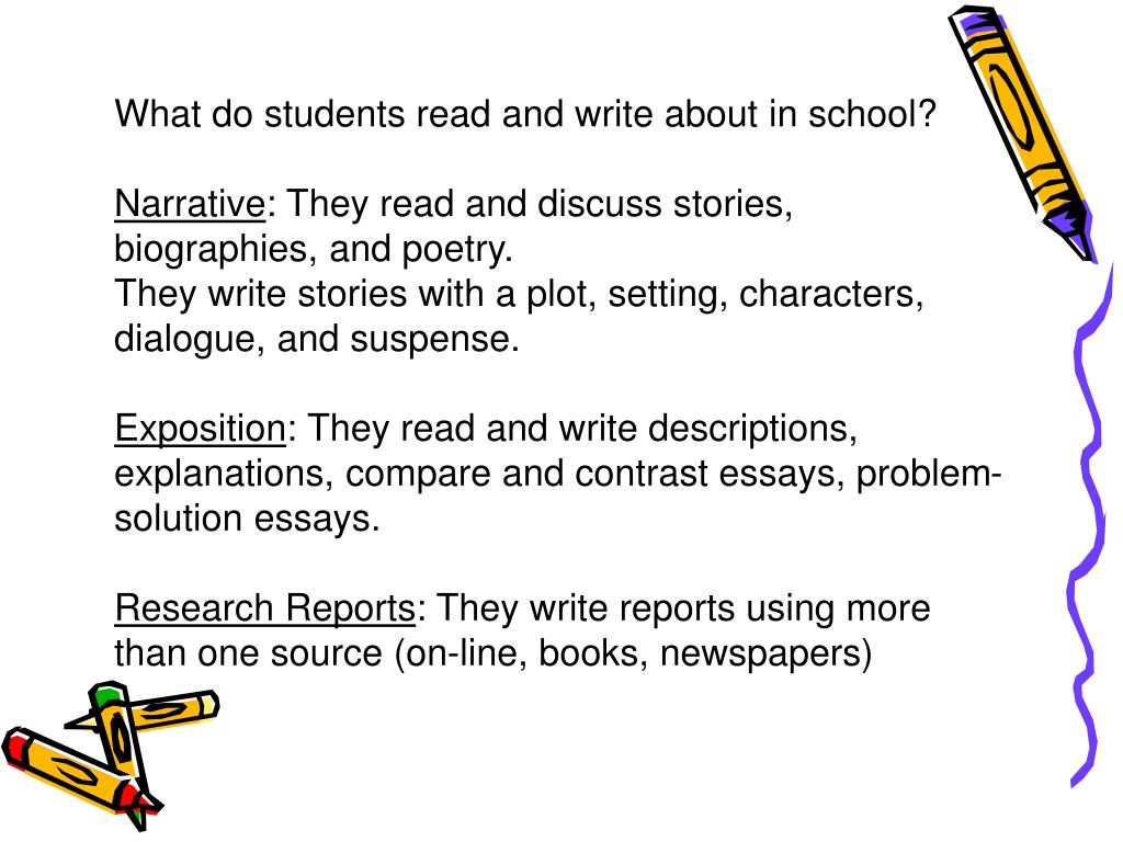 What do students read and write about in school?