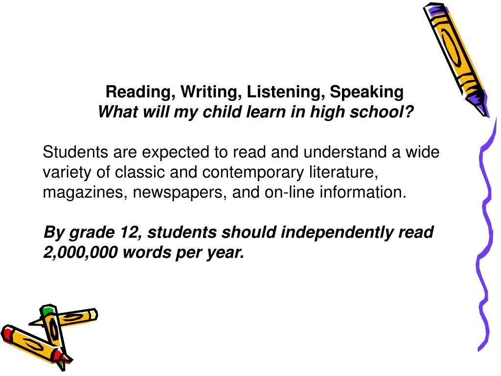 Reading, Writing, Listening, Speaking