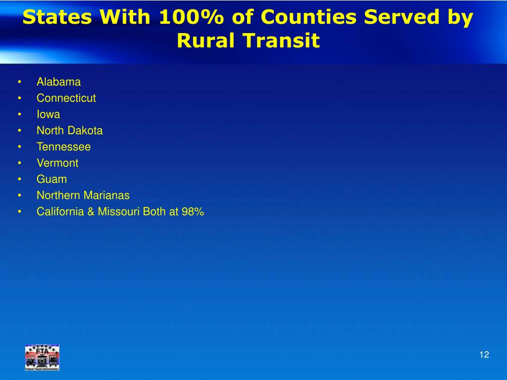 States With 100% of Counties Served by Rural Transit
