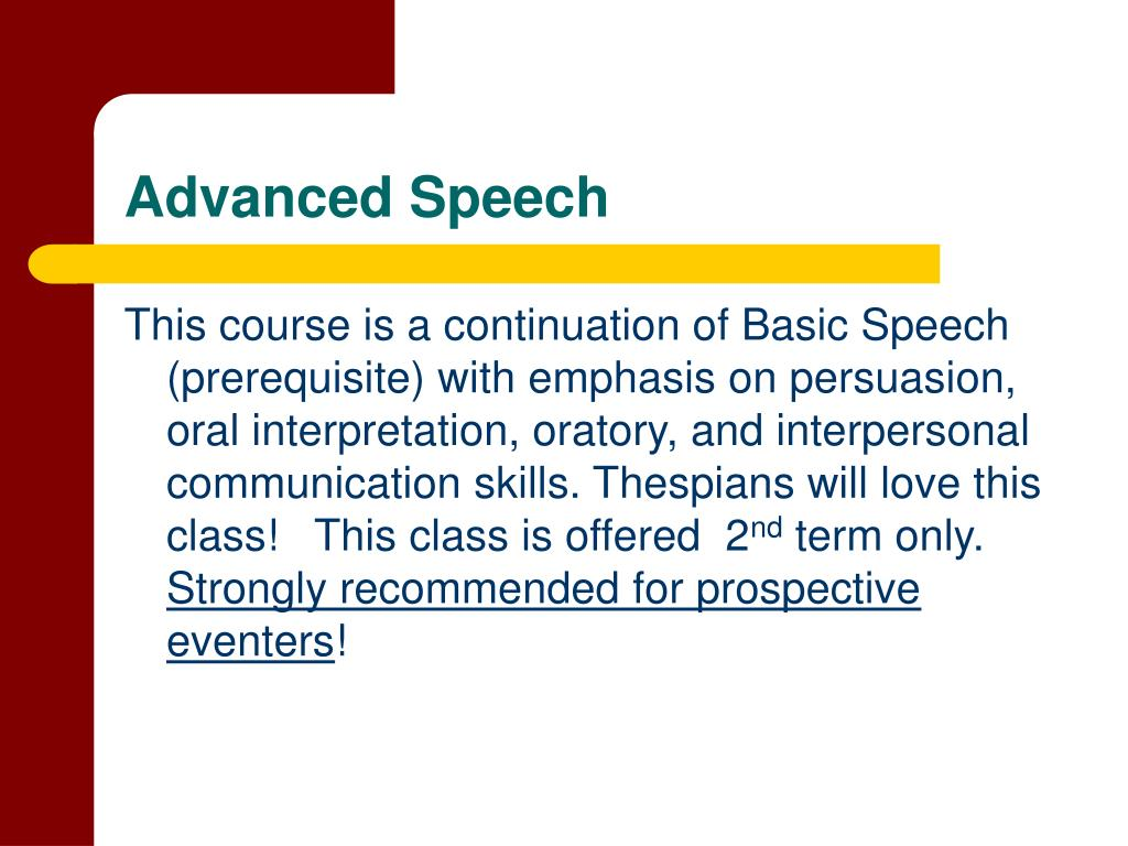 Advanced Speech