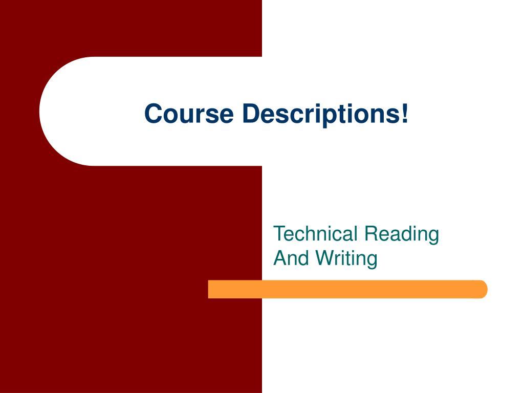 Course Descriptions!