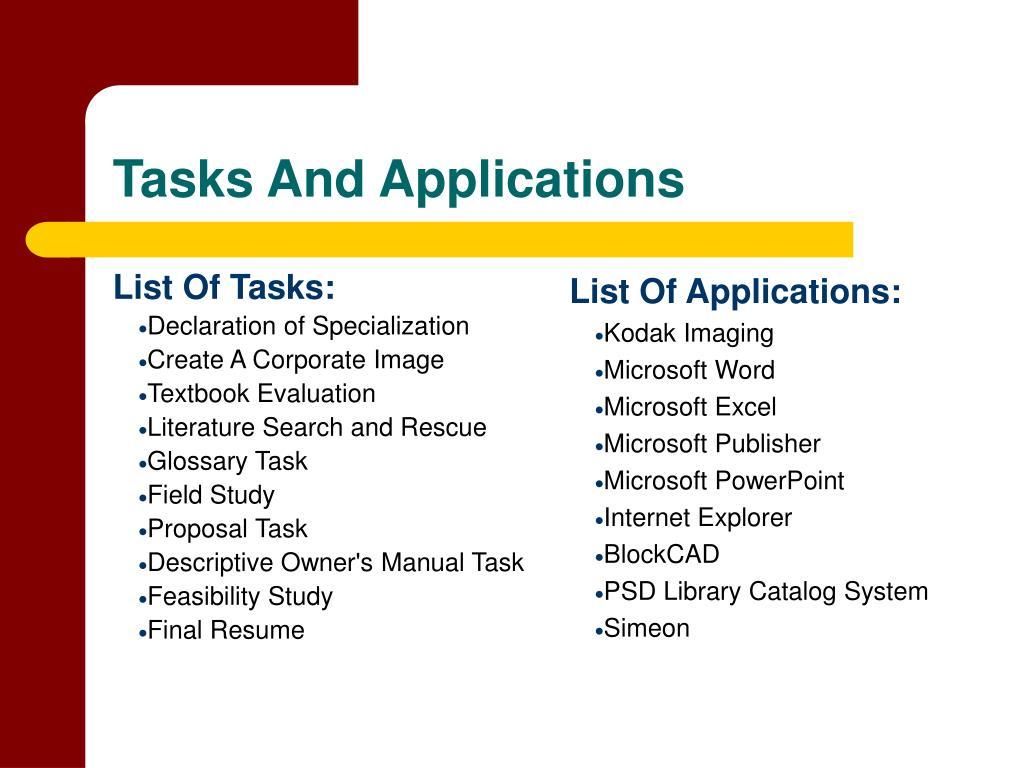 List Of Tasks:
