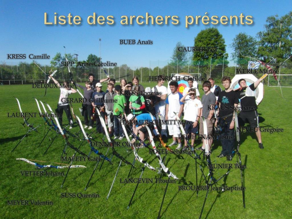 Liste des archers présents