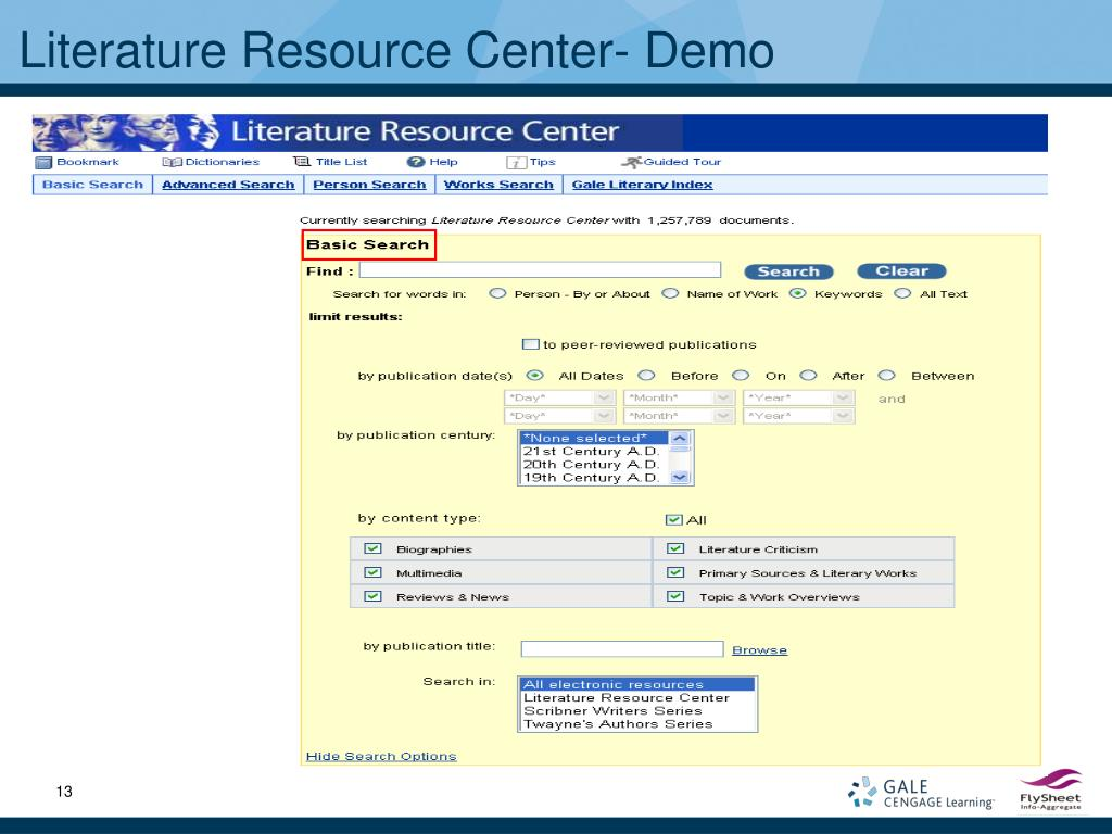 Literature Resource Center- Demo