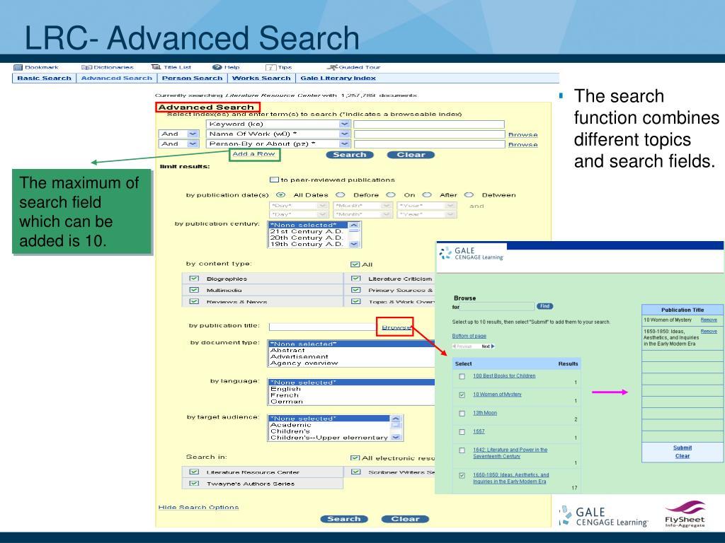 LRC- Advanced Search