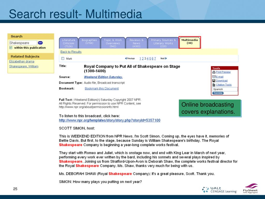 Search result- Multimedia
