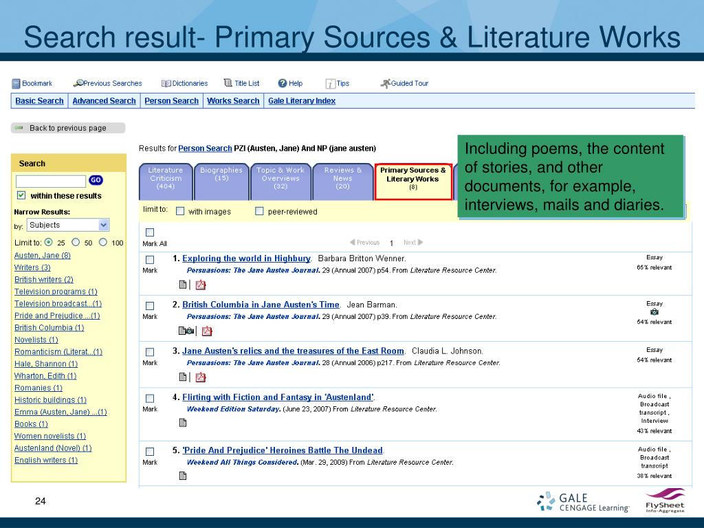 Search result- Primary Sources & Literature Works