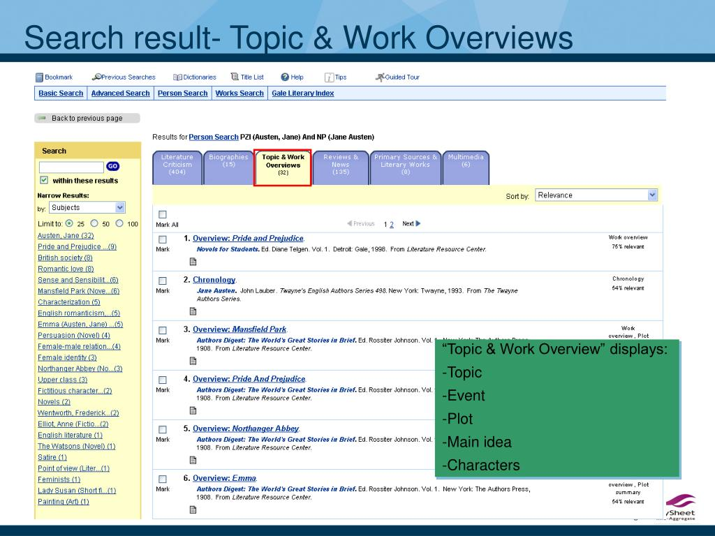 Search result- Topic & Work Overviews
