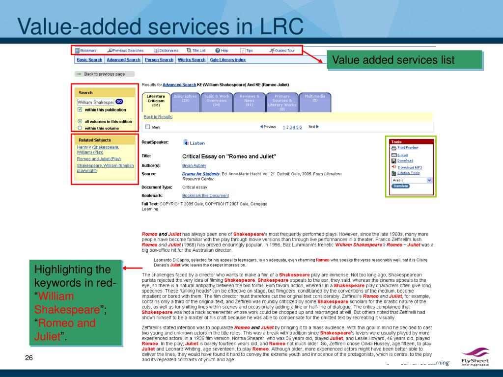 Value-added services in LRC