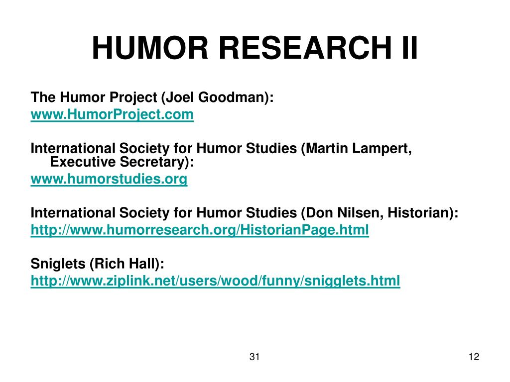 HUMOR RESEARCH II