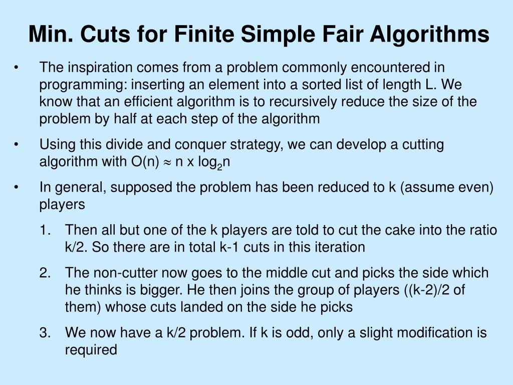 Min. Cuts for Finite Simple Fair Algorithms