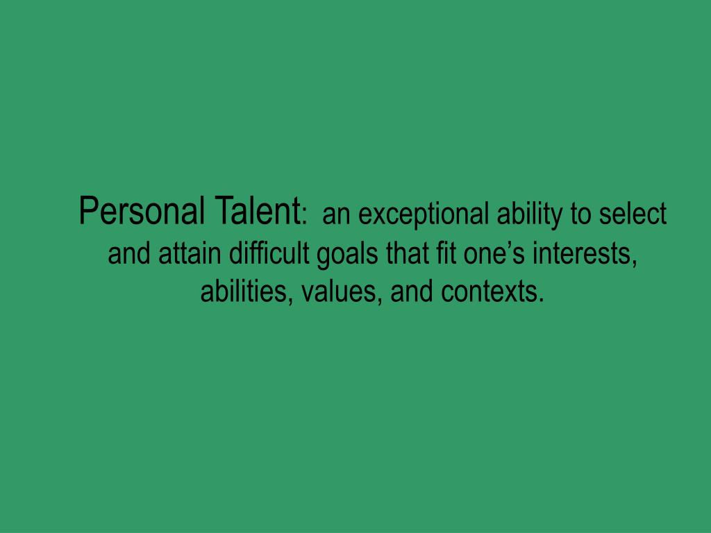Personal Talent