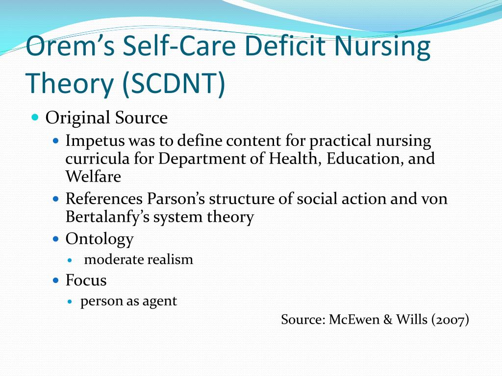 orems theory of self care deficit Start studying module 3: orem's self-care deficit nursing theory learn vocabulary, terms, and more with flashcards, games, and other study tools.