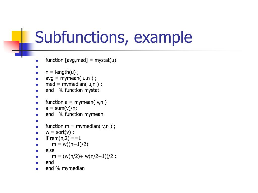 Subfunctions, example