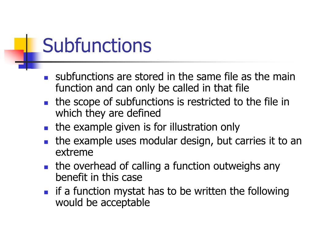 Subfunctions