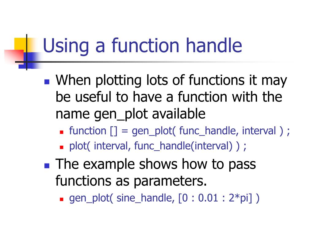 Using a function handle