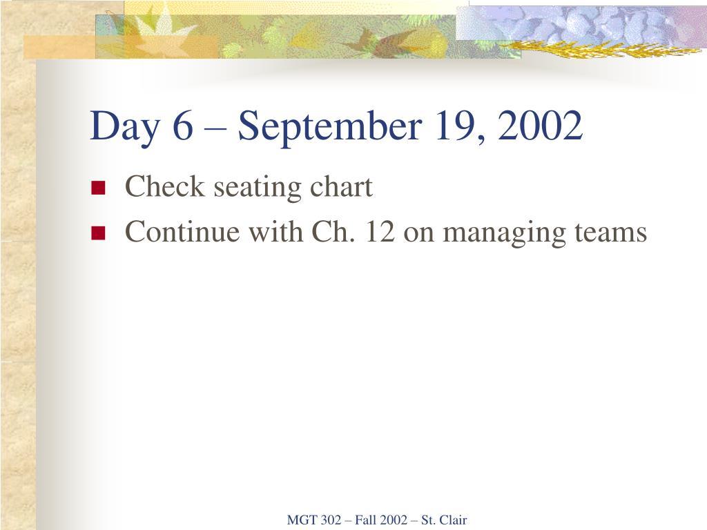 Day 6 – September 19, 2002