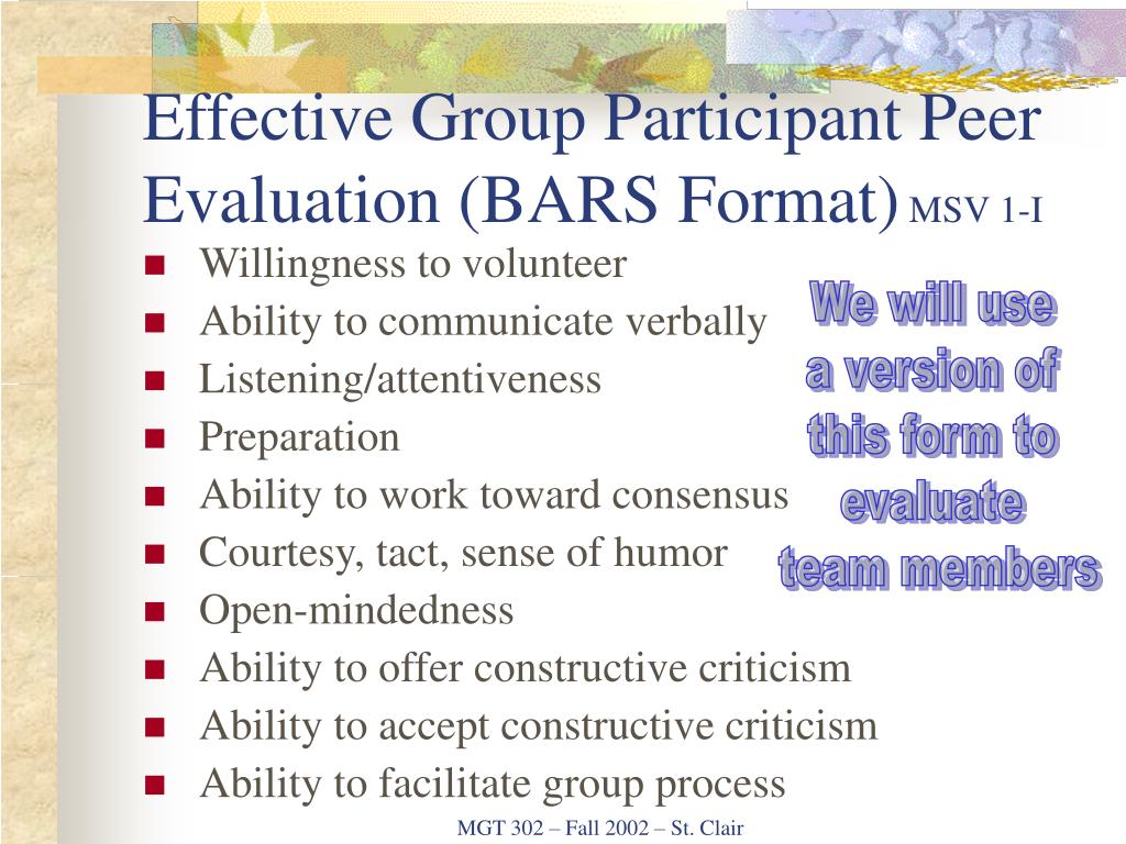 Effective Group Participant Peer Evaluation (BARS Format)