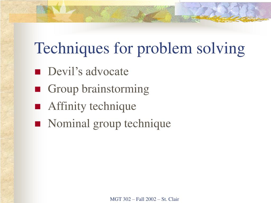 Techniques for problem solving