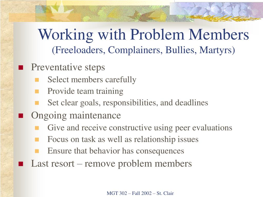Working with Problem Members