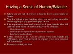 having a sense of humor balance