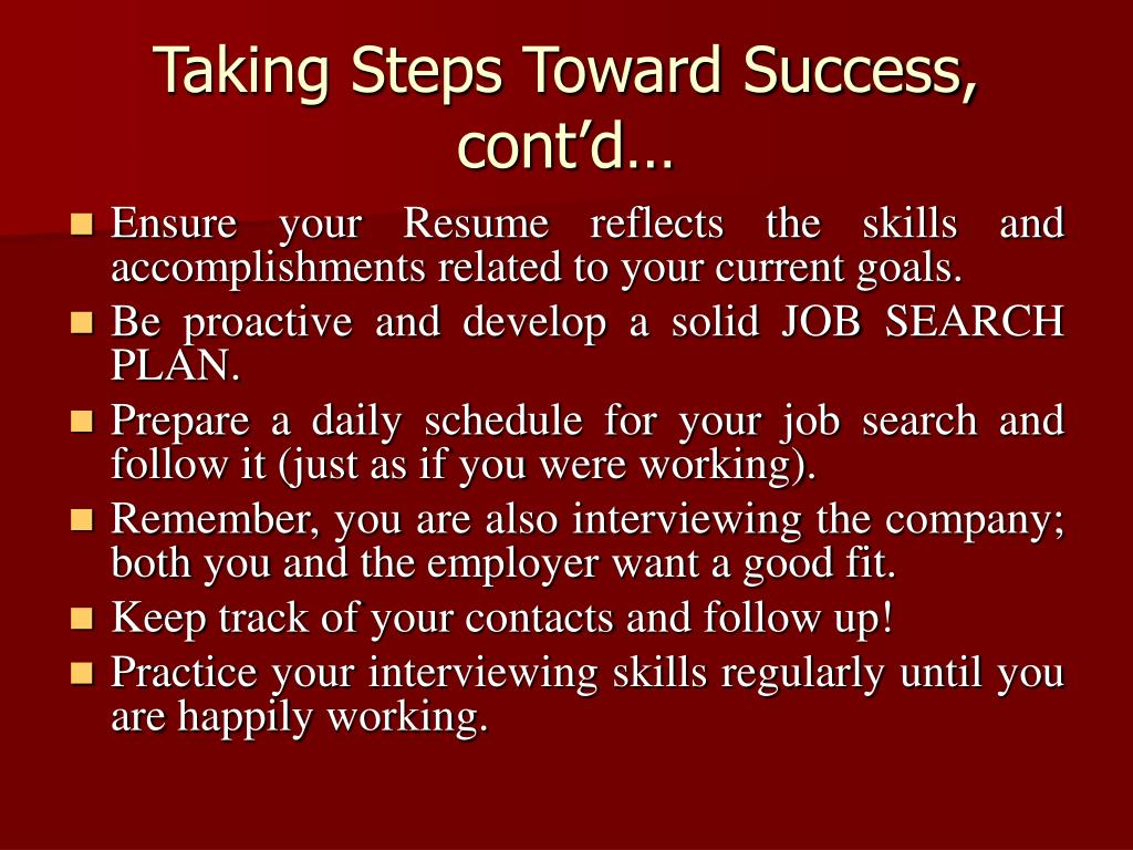Taking Steps Toward Success, cont'd…