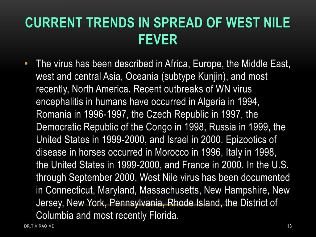 Current trends in spread of west nile fever