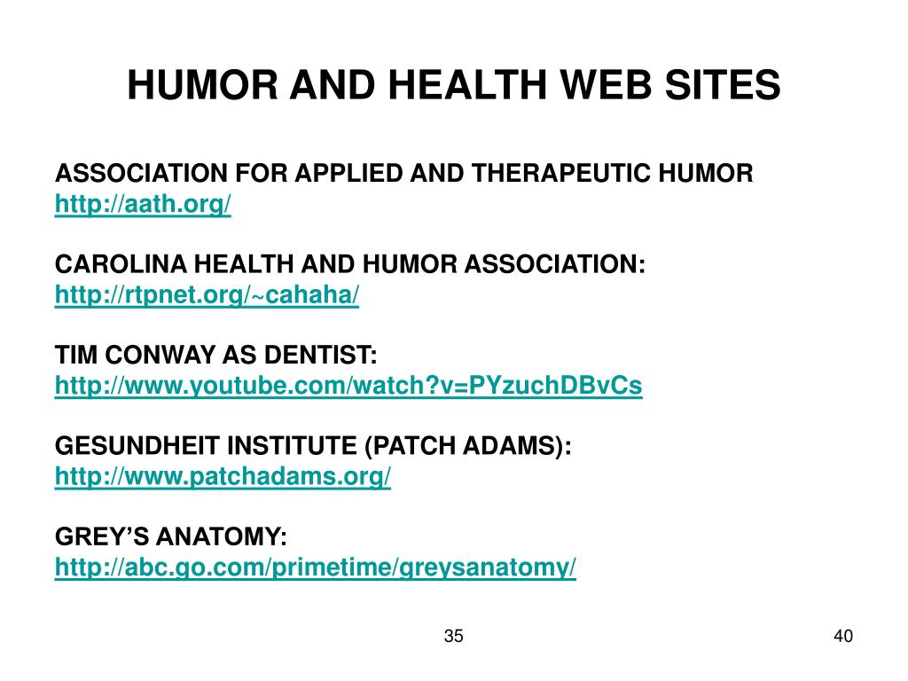HUMOR AND HEALTH WEB SITES