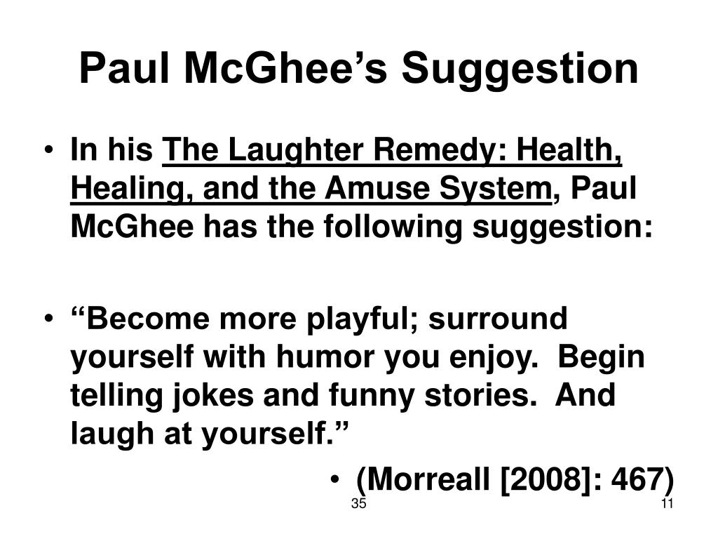 Paul McGhee's Suggestion