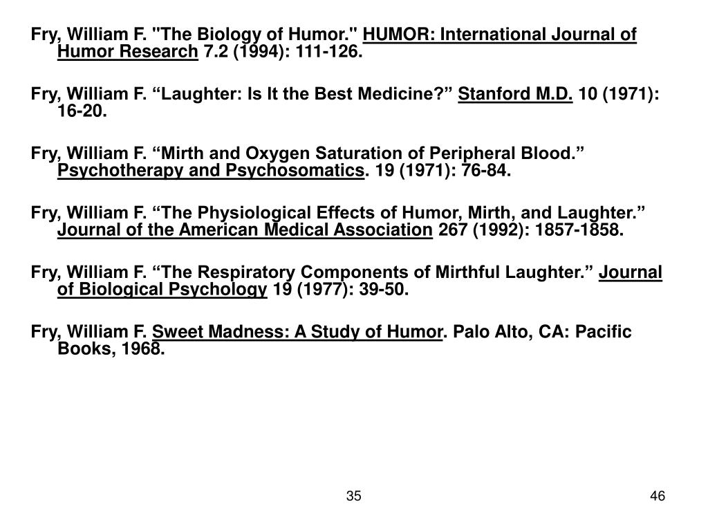 "Fry, William F. ""The Biology of Humor."""
