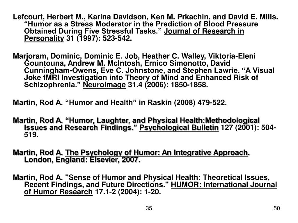 "Lefcourt, Herbert M., Karina Davidson, Ken M. Prkachin, and David E. Mills. ""Humor as a Stress Moderator in the Prediction of Blood Pressure Obtained During Five Stressful Tasks."""