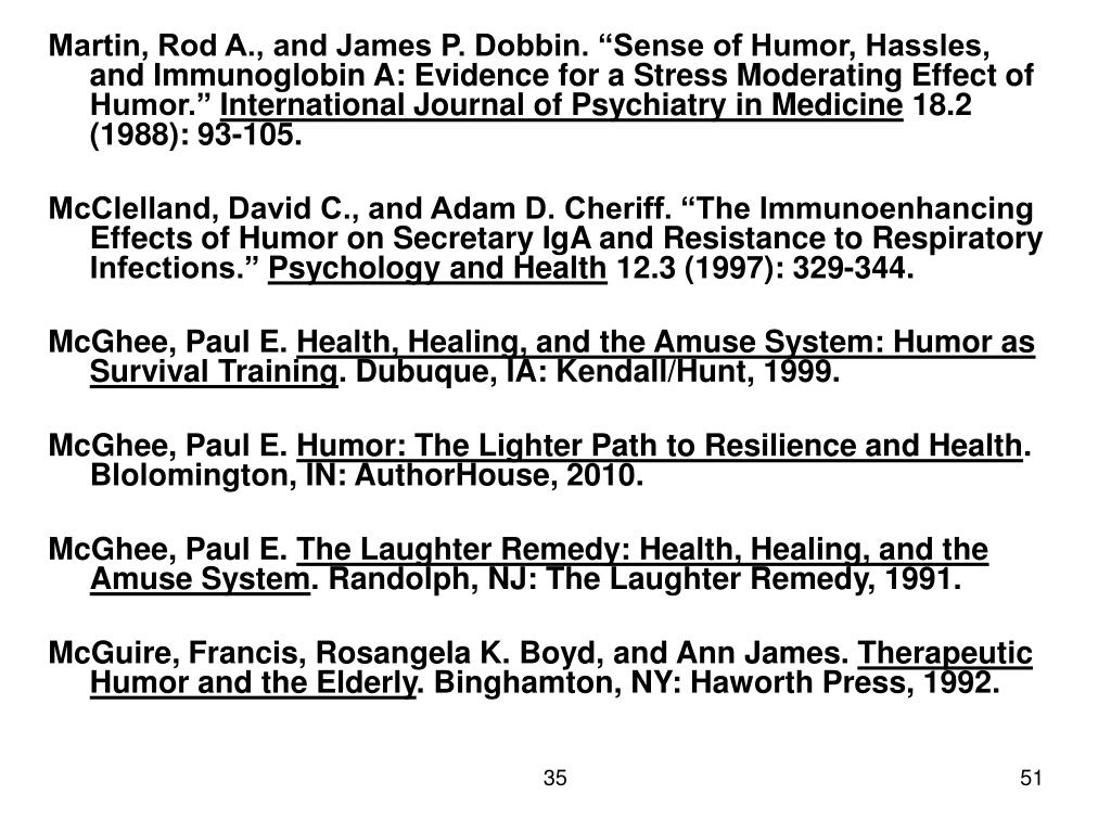"Martin, Rod A., and James P. Dobbin. ""Sense of Humor, Hassles, and Immunoglobin A: Evidence for a Stress Moderating Effect of Humor."""