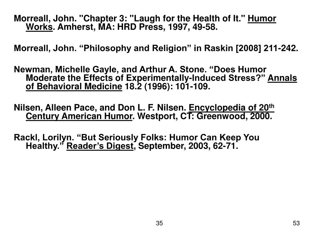 "Morreall, John. ""Chapter 3: ""Laugh for the Health of It."""