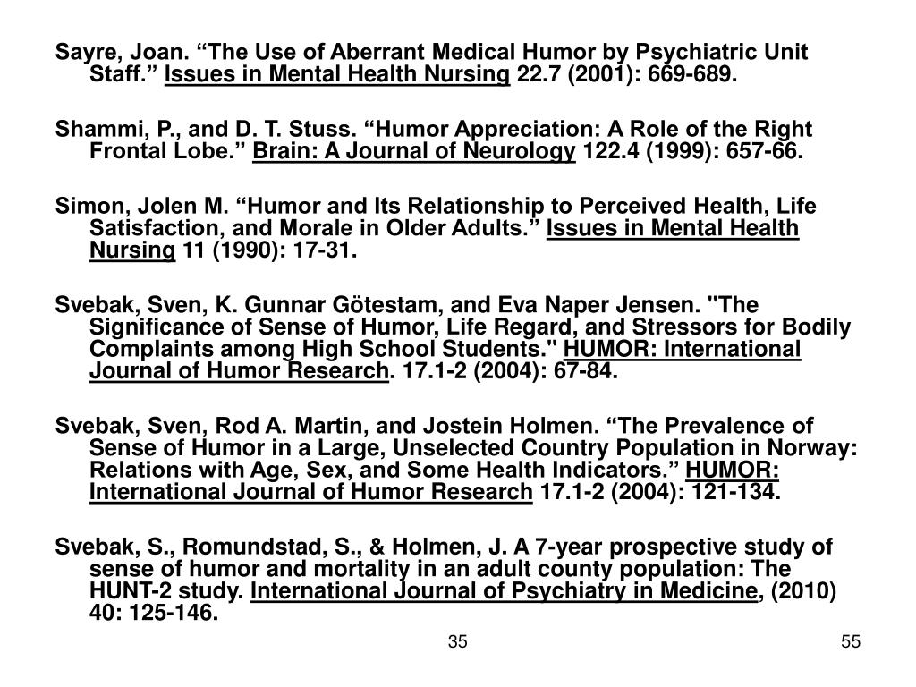 "Sayre, Joan. ""The Use of Aberrant Medical Humor by Psychiatric Unit Staff."""