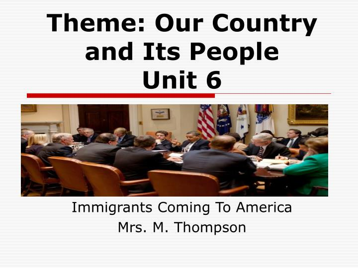 Immigrants coming to america mrs m thompson