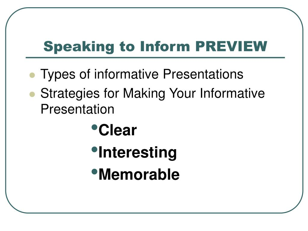 Speaking to Inform PREVIEW