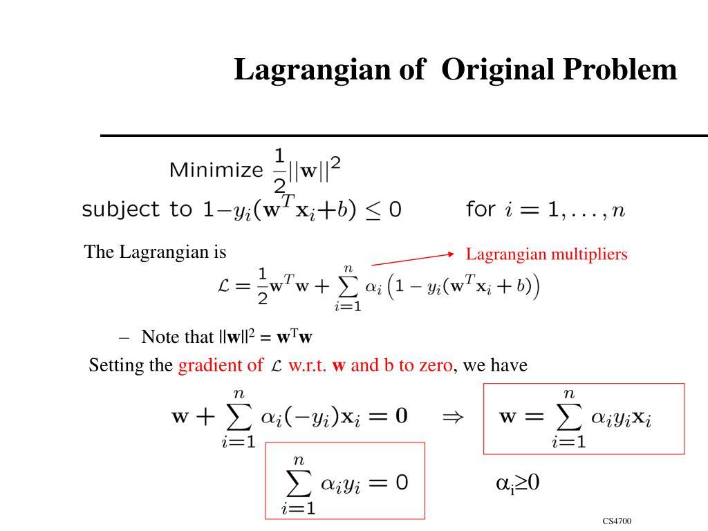 Lagrangian multipliers