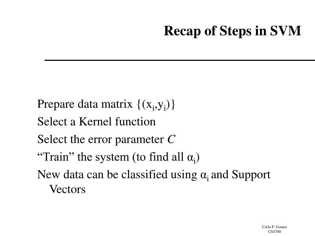 Recap of Steps in SVM